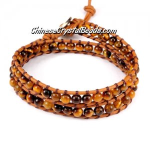Beaded Wrap Bracelet, 4mm tiger eye beads, 12.5inch