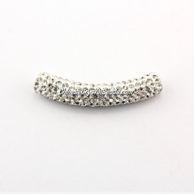Pave Crystal Pave Tube Beads, 45mm, 4mm hole, sold 1pcs