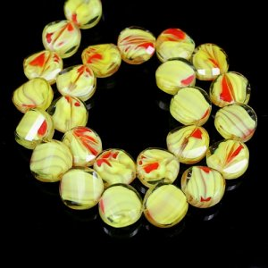 Millefiori Twist faceted Beads yellow/red 14mm, 10 beads