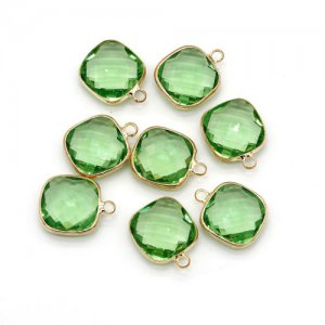 5Pcs 14x18mm lime green square Glass crystal Connecter Bezel pendant, Drops Gold Plated one Loops