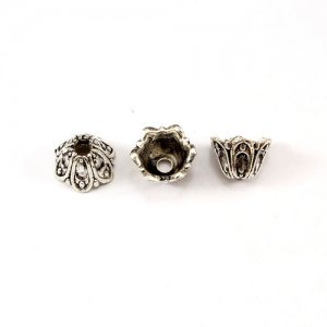 Bead cap, antiqued Silver-finished inchpewterinch (zinc-based alloy), 6x9mm flower, Sold per pkg of 50pcs.