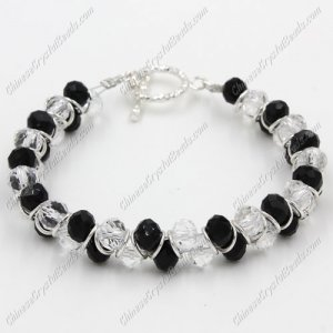 Crystal Bracelet 6mm rondelle beads black and white, 8inch length