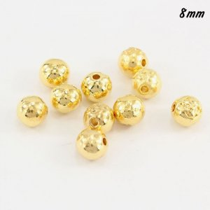 Pave end beads, gold plated brass, 8mm, hole:2mm, sold per pkg of 10pcs.