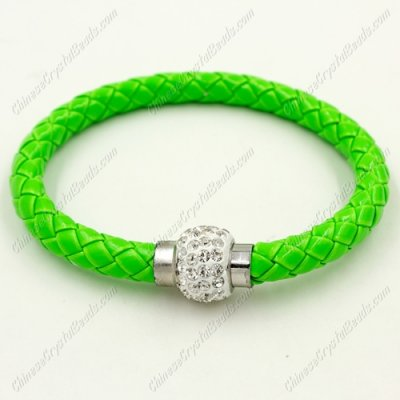 12pcs Weave leather bracelet, Magnetic Clasps, green, wide 7mm, length about 7inch
