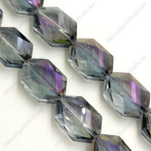 10Pcs Faceted Polygon Hexagon Glass Crystal, purple light, hole:1.5mm (2 size)