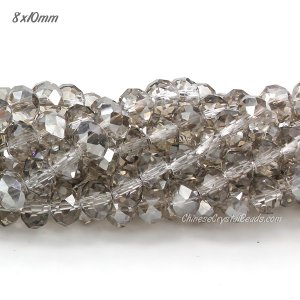 8x10mm Chinese Crystal Rondelle beads Strand, silver shade 70 pieces