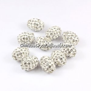 Oval Pave Beads, 9x13mm, Clay, white, sold per 10pcs bag