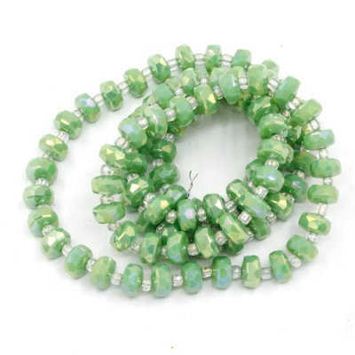 95Pcs 5x8mm angular crystal beads opaque green AB