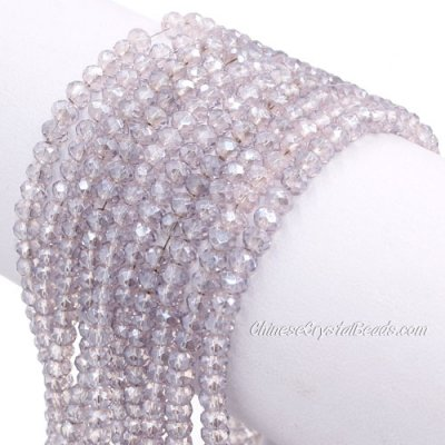 140Pcs 3x4mm Chinese Crystal Rondelle Beads Strand, gray pink light