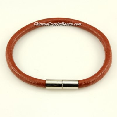 Fashion leather stainless steel Magnetic Bracelet, 5mm round leather, brown, 7.5 inch