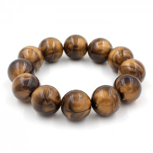 Imitation ABS Cat Eye's Beads Bracelet, wood color, inside diameter:16.5cm