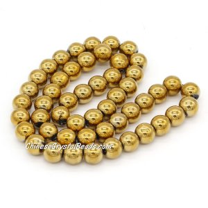 51Pcs 8mm Round Glass Beads, hole 1.5mm, Metalic gold