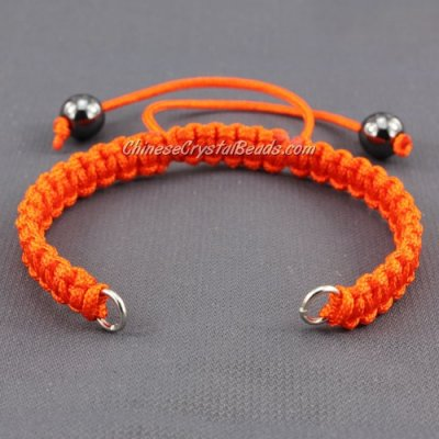 Pave chain, nylon cord, orange, wide : 7mm, length:14cm