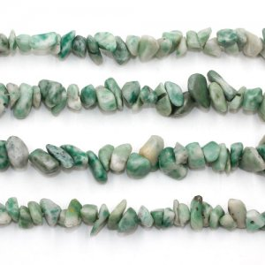 Green Spot Jasper chip, Gemstone Chips, 5mm to 10mm, Hole:1mm, Length:Approx 35 Inch