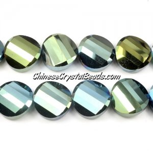 Chinese Crystal Twist Bead, 18mm, green light, 10 beads