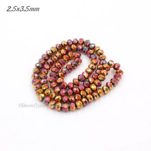 2.5x3.5mm red rainbow Chinese Crystal Rondelle Beads about 135 beads