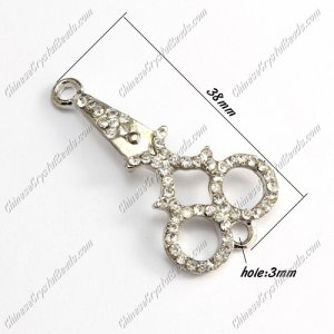 Charms Pave Rhinestone silver plated shears, Bracelet Links Connectors Finding, 38mm, 1 pcs