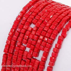 2x2mm cube crytsal beads, opaque red velet 4, 195pcs