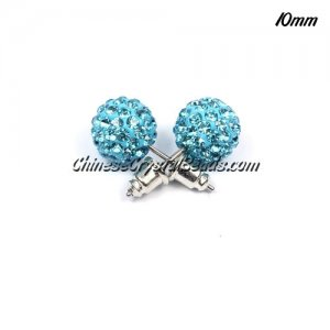 Pave clay disco Earrings, aqua, 10mm, sold 1 pair