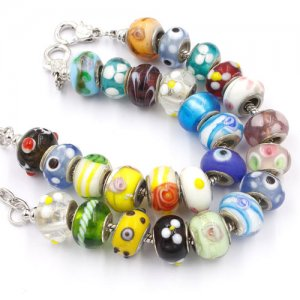10pcs Random Mixed Multicolor Lampwork Beads Big Hole Fit European Charms Bracelet 14x9mm