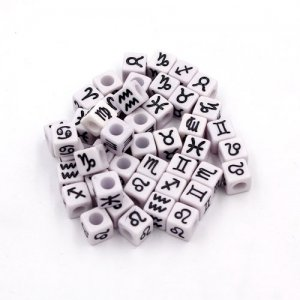100Pcs Mixed Constellation Cube Acrylic Beads, 7mm, hole: 3.8mm, light purple