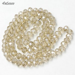4x6mm Chinese Crystal Rondelle Bead Strand, silver shadow, about 95 Pcs