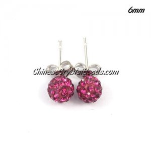 Pave Drop Earrings, 6mm, fuchsia, sold 1 pair