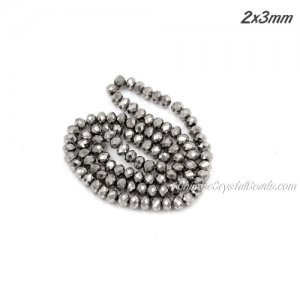 140Pcs 2.5x3.5mm Chinese Crystal Rondelle Beads, silver