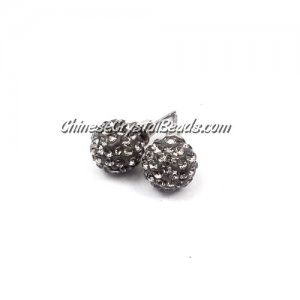 Pave clay disco Earrings, gray 10mm, sold 1 pair