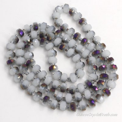 half purple light jade 5x8mm angular crystal beads