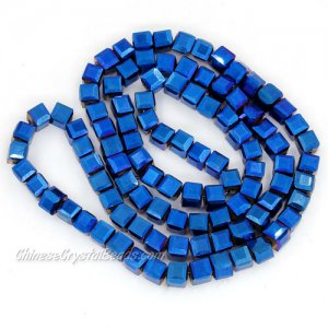 98Pcs 4mm Cube Crystal Beads, blue light