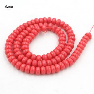 100Pcs 6x3.5mm Smooth Roundel Shape Glass Beads, rondelle glass beads strand, hole 1mm, Coral