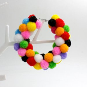 Pom poms Hoop Earring, 2.6 inch, mix, sold by 1 pair