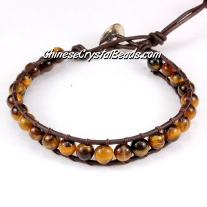 Beaded Wrap Bracelet, 6mm yellow tiger eye beads, 6.5inch