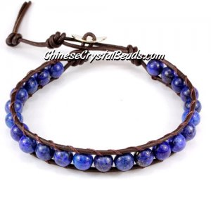 Beaded Wrap Bracelet, 6mm Blue Lapis round beads, 6.5inch