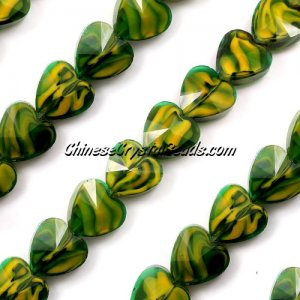 Millefiori 14mm faceted heart Beads green/yellow, 10 beads