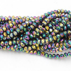 140Pcs 3x4mm Chinese Rainbow Crystal Rondelle beads