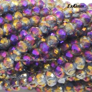 70 pieces 8x10mm Chinese Crystal Rondelle beads, purple and gold light