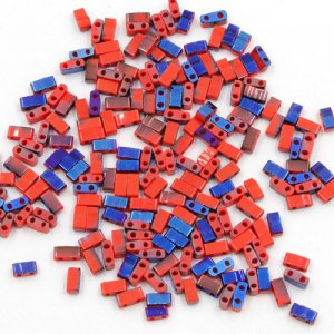 5x2.5mm chinese glass Half Tila red and half blue approx 200 beads