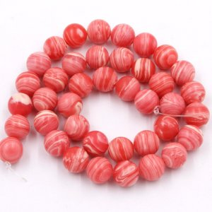 10mm Pretty Light Opaque Pink White Swirls Round Shaped Beads Smooth Round 15 inch