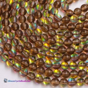 amber Mystic Aura Quartz Beads 6/8/10/12mm Rainbow Holographic Bead Synthetic Moonstone 15.5inch
