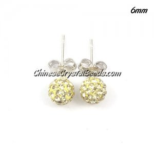 Pave Drop Earrings, 6mm, lt yellow, sold 1 pair