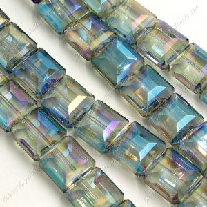 faceted square crystal, 13x13mm, green light, 12 beads