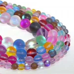 Matte mixed Mystic Aura Quartz Beads 6/8/10/12mm Rainbow Holographic Bead Synthetic Moonstone 15.5inch