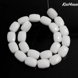10x14mm rectangle grid faceted crystal beads, opaque white, 1 Pc