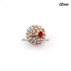 alloy pave disco beads, clear crystal stone, rose gold plated, 12mm, 2mm hole, sold 9pcs