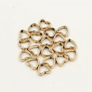 brass spacer beads, champagne gold plated brass, heart shape, 11x12mm, Sold per pkg of 10.