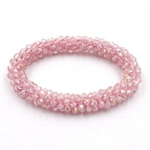 Weave crystal braclet, pink AB color, 10mm Thickness