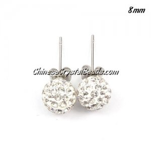 Pave Drop Earrings, white 8mm, sold 1 pair