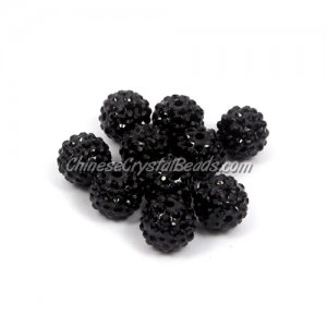 Pave Beads, resin, pave disco beads, Black, 10mm, 10 pcs